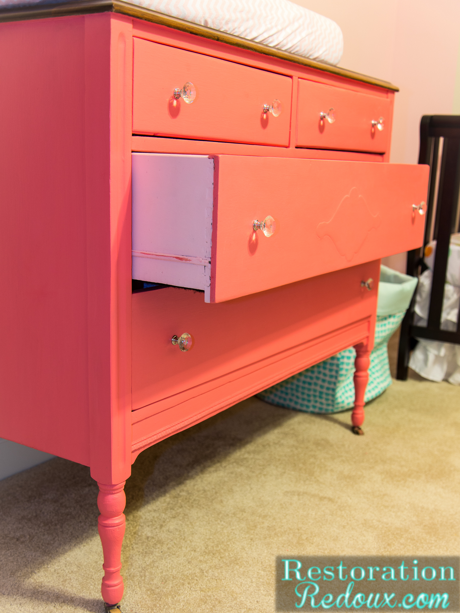Broke Down Dresser Turned Pretty Pink Changing Table