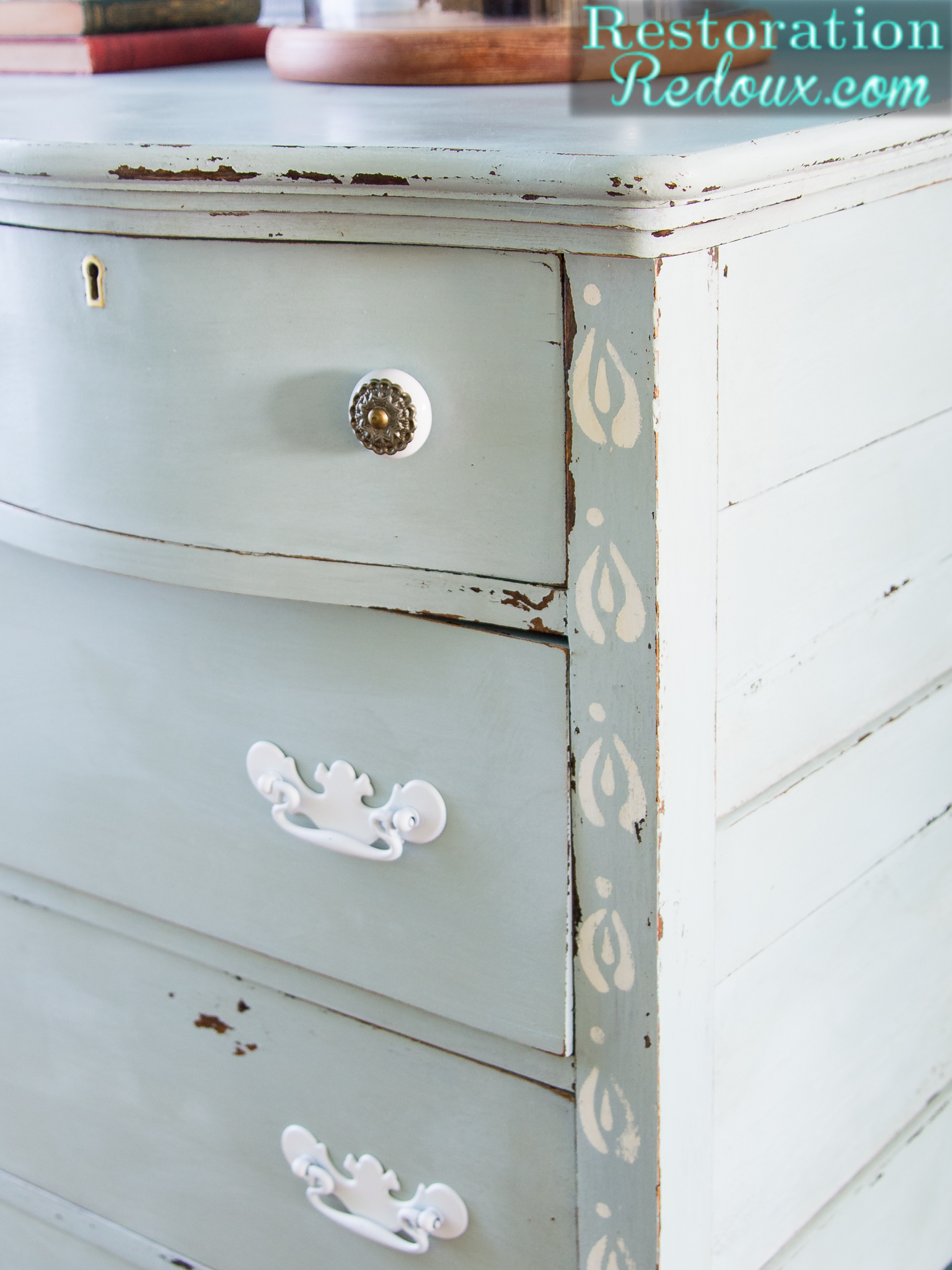 Blue Stenciled Antique Dresser
