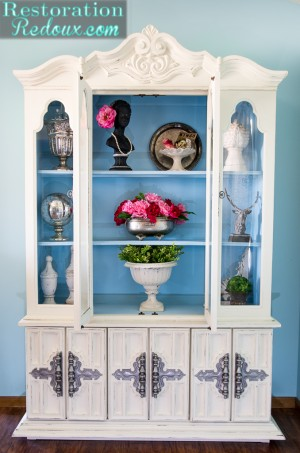 Ivory and Blue Painted China Hutch